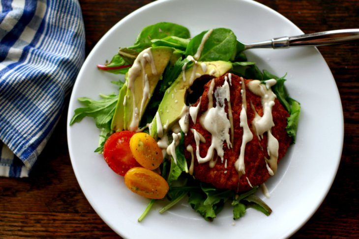 savory chickpea burger salad