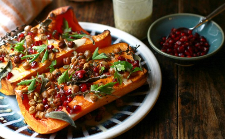 roasted butternut squash with maple tahini sauce