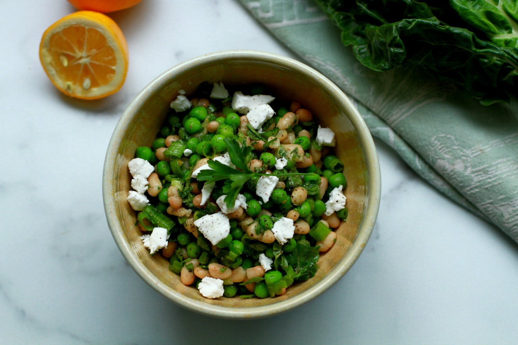 minted pea and white bean salad