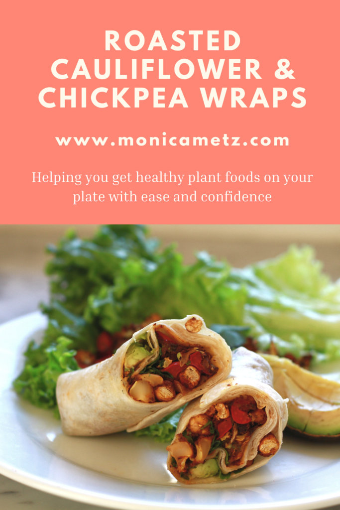roasted cauliflower and chickpea wraps